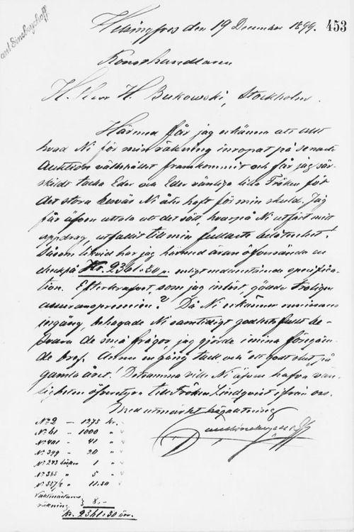 Paul Sinebrychoffin kirje Henryk Bukowskille 19.12.1899