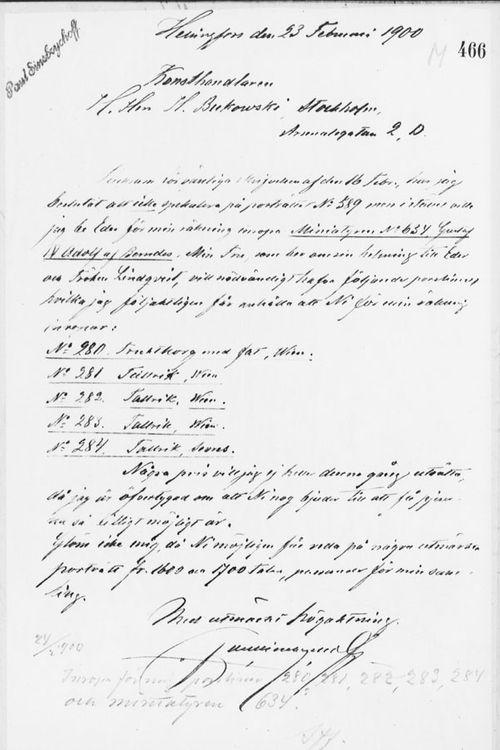 Paul Sinebrychoffin kirje Henryk Bukowskille 23.2.1900