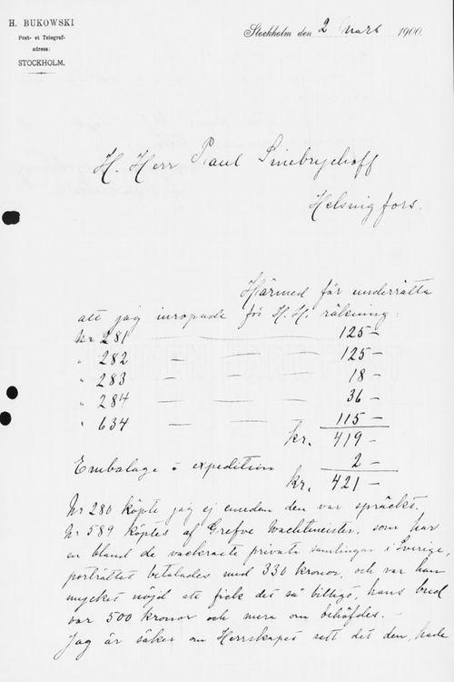 Henryk Bukowskin kirje Paul Sinebrychoffille 2.3.1900