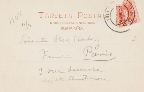 Hugo Simbergin kirje Elsa Simbergille 21.4.1904 (b)