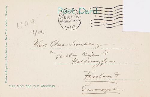 Hugo Simbergin kirje Elsa Simbergille 19.12.1907